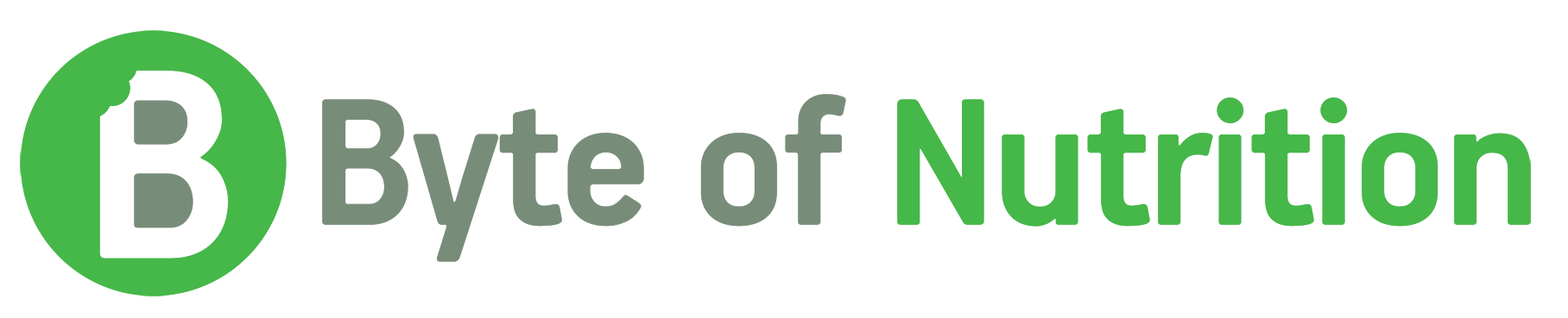 Green Letter B with a bite taken out - logo for Byte of Nutrition